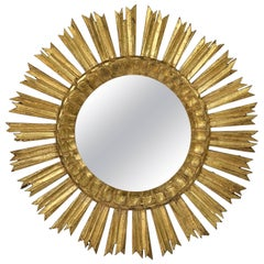 French Gilt Starburst or Sunburst Mirror (Diameter 21)