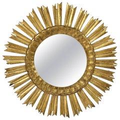 French Gilt Starburst or Sunburst Mirror (Diameter 21)