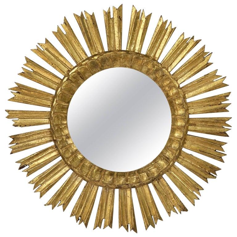 French Gilt Starburst or Sunburst Mirror (Diameter 21) For Sale