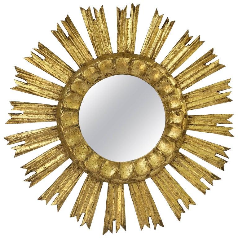 French Gilt Starburst or Sunburst Mirror (Diameter 16)