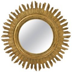 French Gilt Starburst or Sunburst Mirror (Diameter 20 1/2)