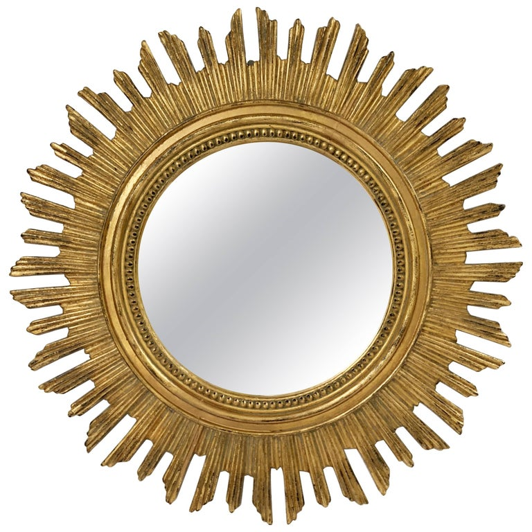 French Gilt Starburst or Sunburst Mirror (Diameter 20 1/2) For Sale