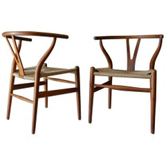 Pair of Hans Wegner CH 24 Wishbone Chairs in Oak, circa 1960