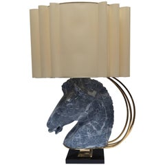 Maison Jansen Style Sculptural Ceramic Horse Head Lamp with Brass