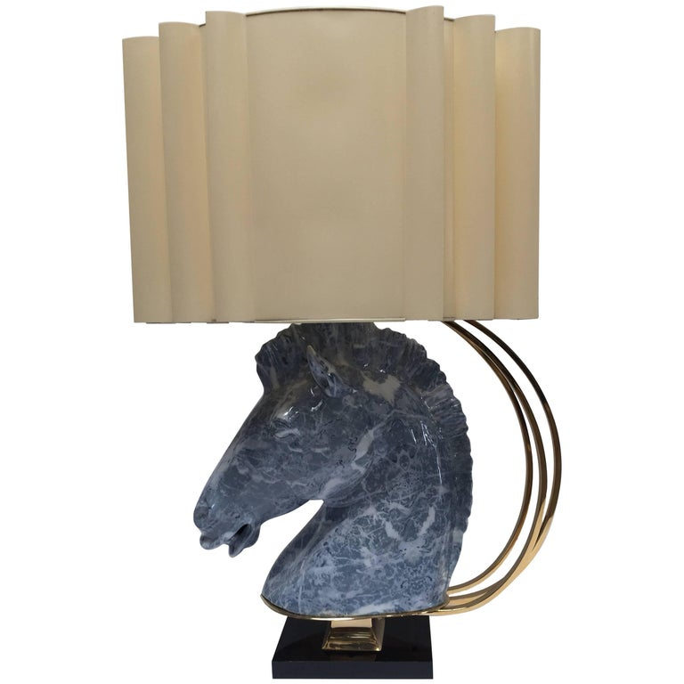 Maison Jansen Style Sculptural Ceramic Horse Head Lamp with Brass