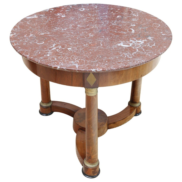 French Empire Mahogany and Brass Centre Table