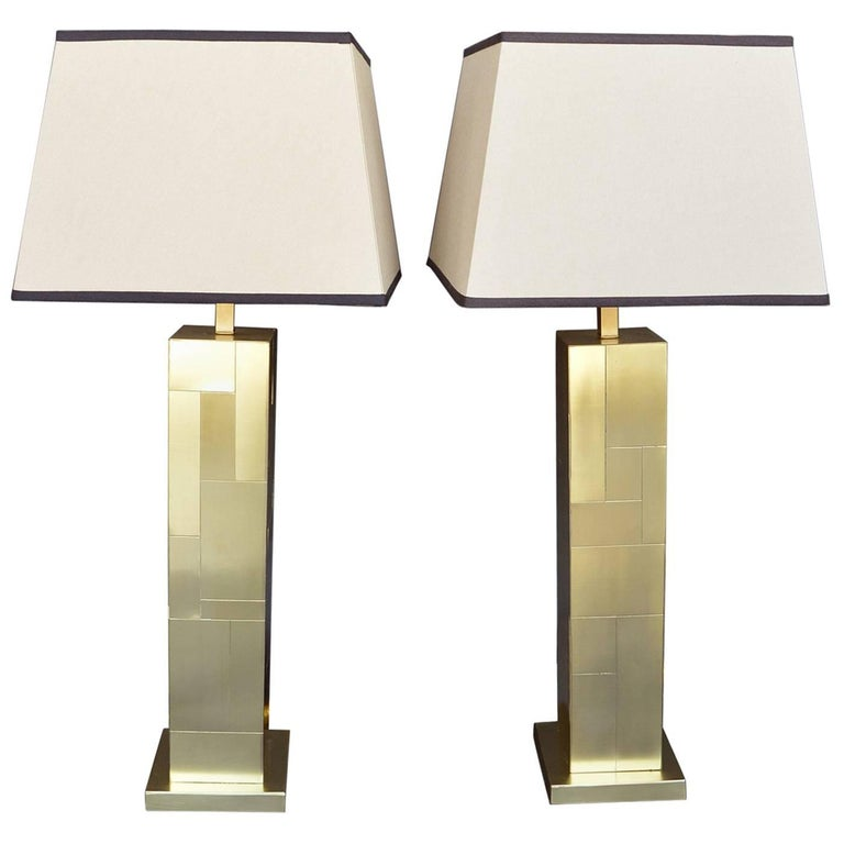 "Pair of Brass ""Cityscape"" Paul Evans Lamps For Sale"