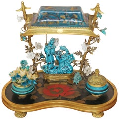 French Chinoiserie Turquoise-Blue Porcelain Encrier Table Lamp