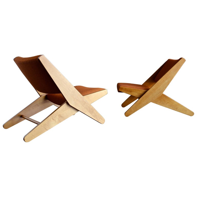 """Pair of Rare """"Ficks Folder"""" Lounge Chairs by Ficks Reed Co"""