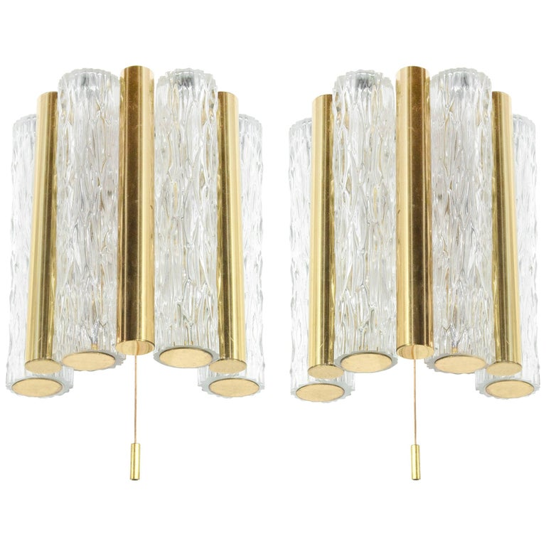 Murano Glass and Brass Sconces by Doria Leuchten, Germany, 1950s