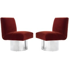 Milo Baughman Swivel Chairs on Drum Nickel Bases