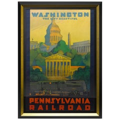 """Washington The City Beautiful"" Vintage Pennsylvania Railroad Travel Poster"