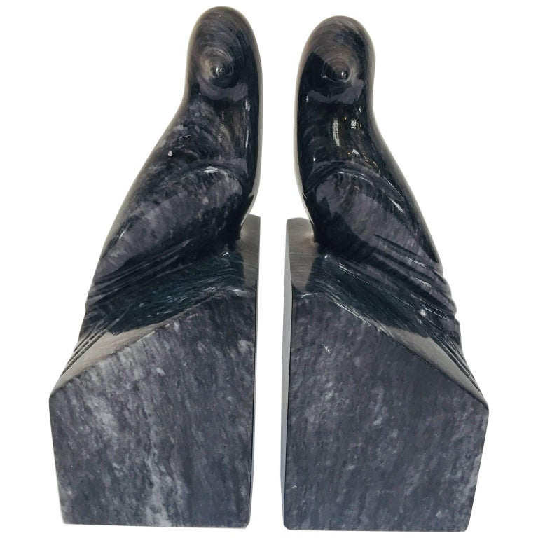 Pair of Modernist Art Deco Black Marble Birds Bookends