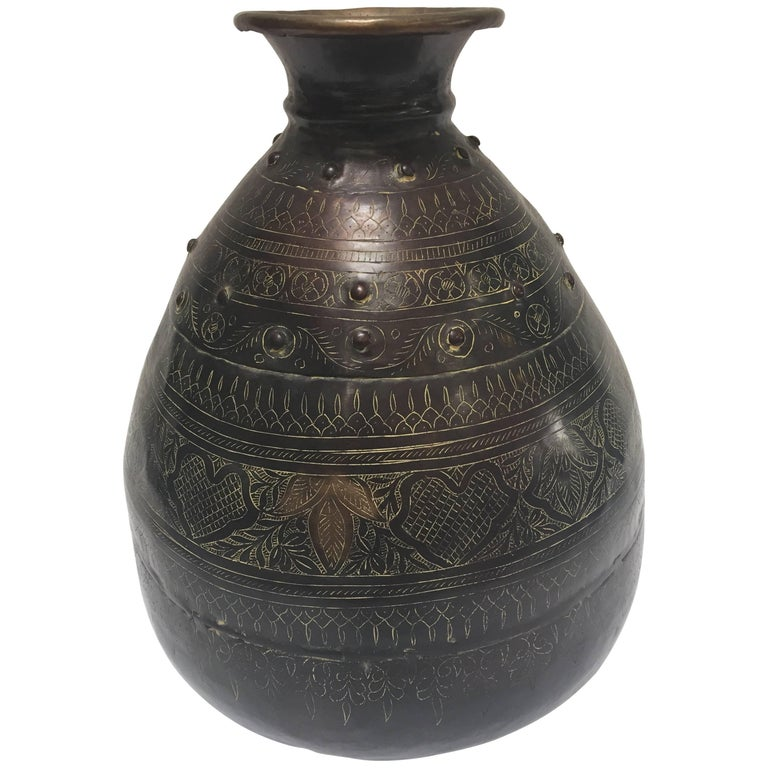 Large Indian Hand-Hammered Copper Jug with Asian Carvings