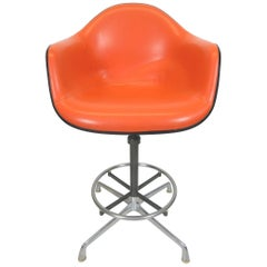 Charles Eames for Herman Miller Orange EC 118 Arm Shell Drafting Chair