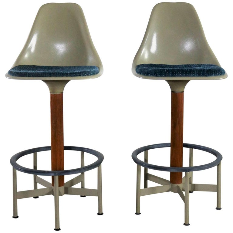 Pair of Burke Swivel Bar Stools Mid-Century Modern Fiberglass Shell Fabric Seat