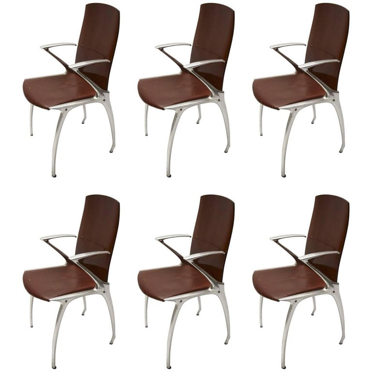 Six Dining Chairs Attributed to Philippe Starck, circa 1985 For Sale