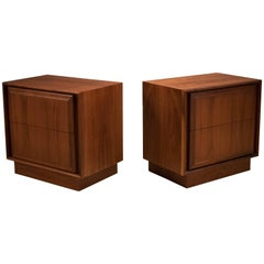 Mid Century Pair of Walnut Nightstands