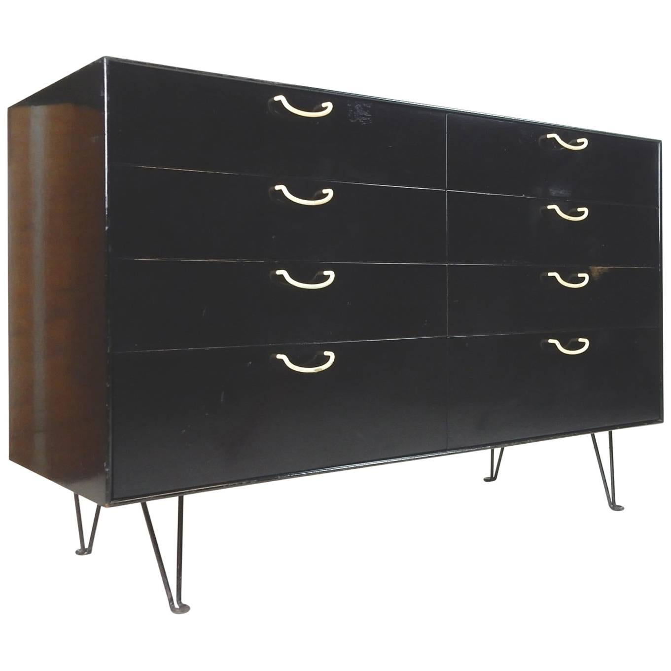 Attirant George Nelson For Herman Miller Ebonized Thin Edge Eight Drawer Cabinet For  Sale
