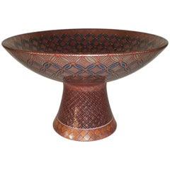 Genki Kunihiko Contemporary Japanese Imari Porcelain Bowl on Pedestal