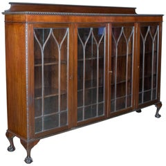 Antique Glazed Bookcase Long Edwardian Mahogany Cabinet, Gothic, circa 1910