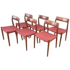 Set of Six Niels Otto Møller for J.L. Møller Model 77 Teak Dining Chairs