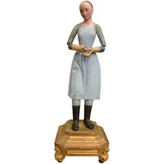 "18th Century Polychrome French Female Sculpture ""Santa Rita"""