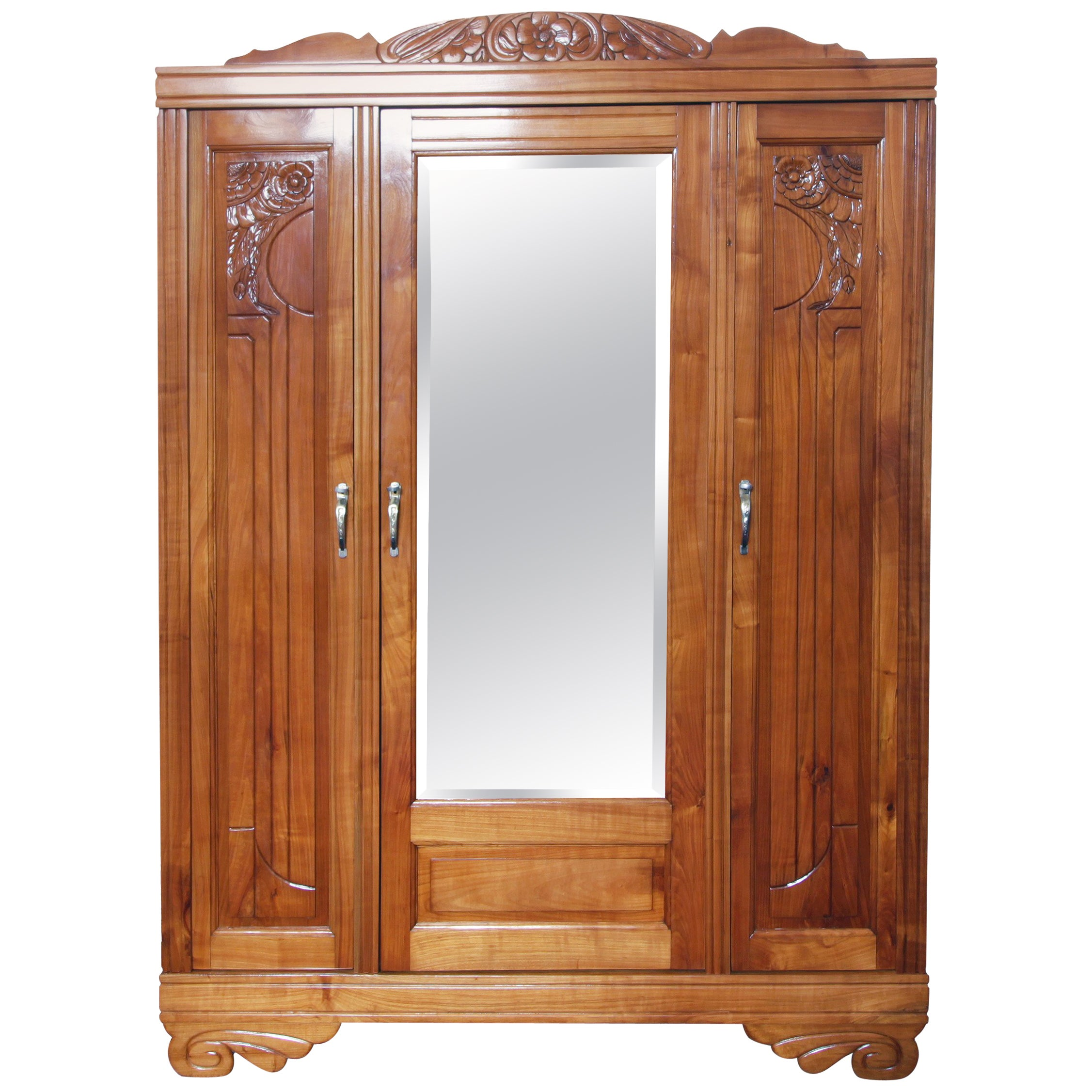Art Deco Solid Cherry Three-Door Wardrobe / Cabinet