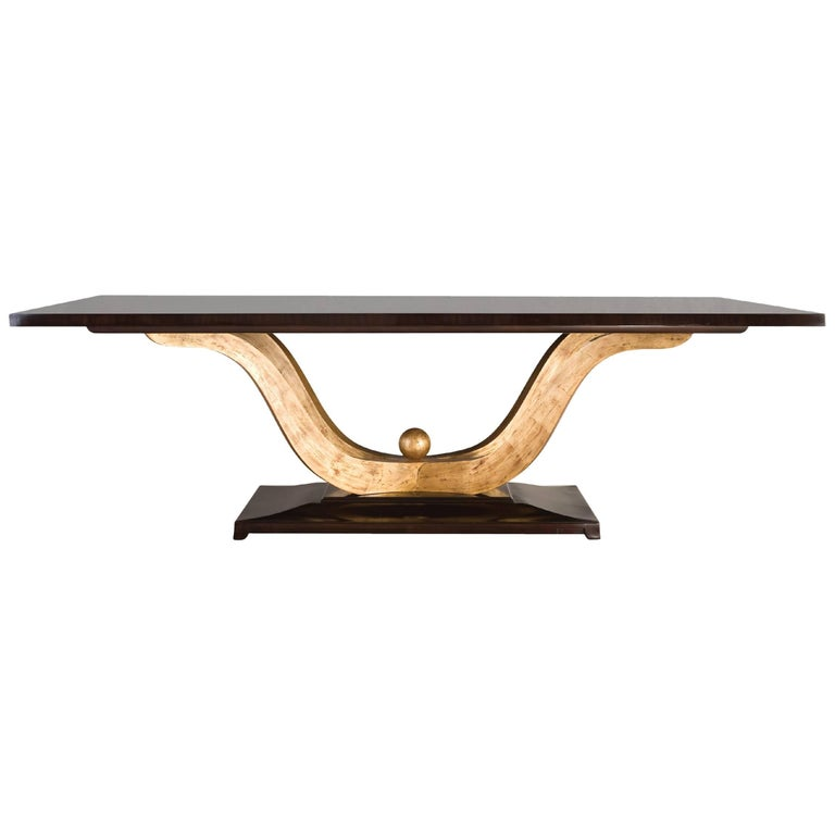 Fontana Dinning Table in Solid Mahogany Veenered Wood with Gold Painting For Sale