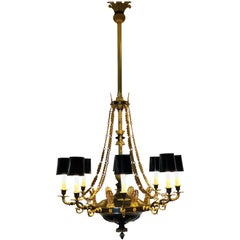 20th Century Neoclassical Empire French Gild and Patinated Chandelier