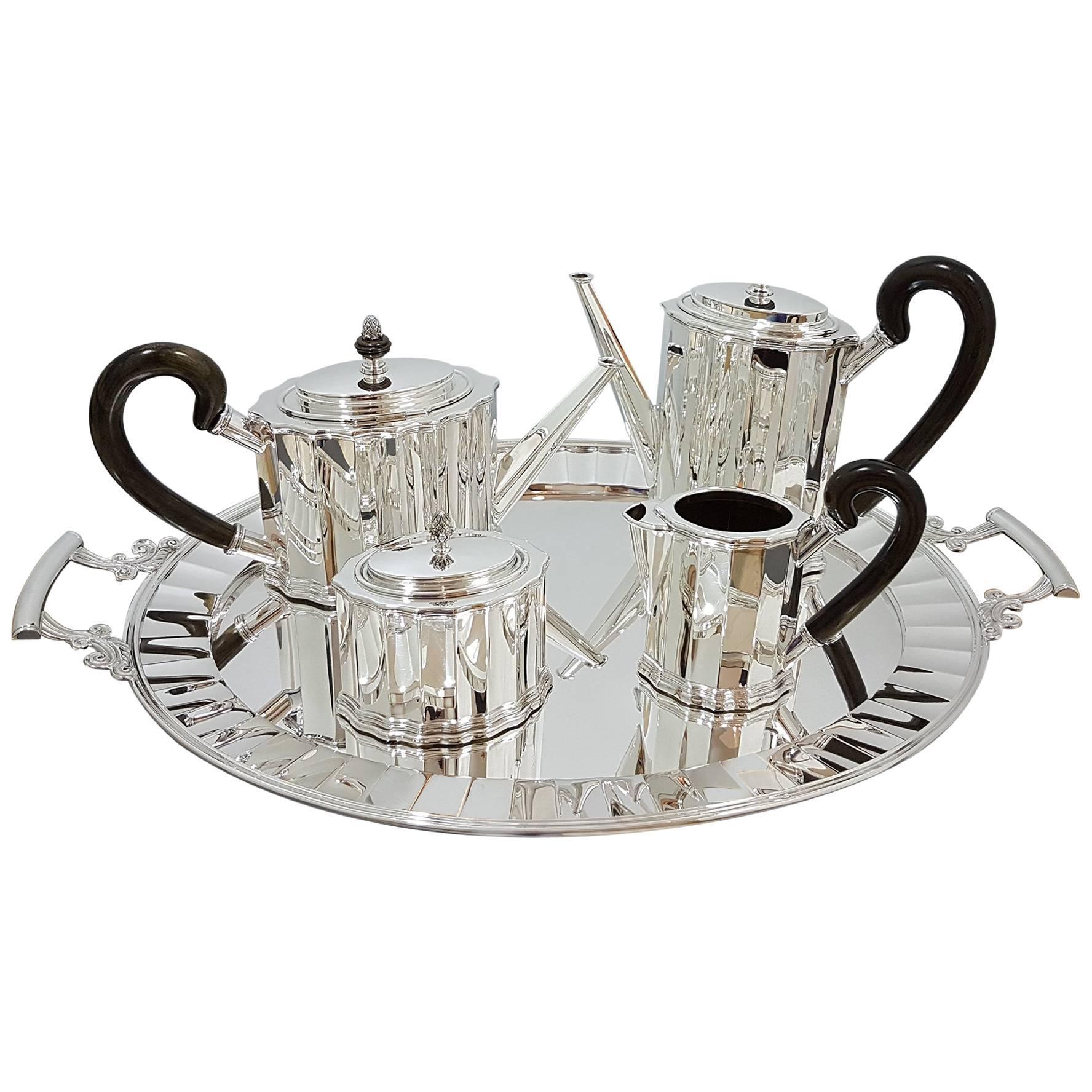 20th Century Italian Sterling Silver Tea Coffee Set Plus Tray Woodden Handles
