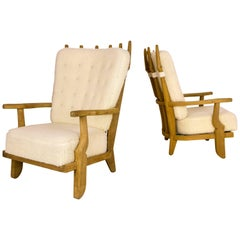Pair of Guillerme et Chambron Armchairs, circa 1960, France