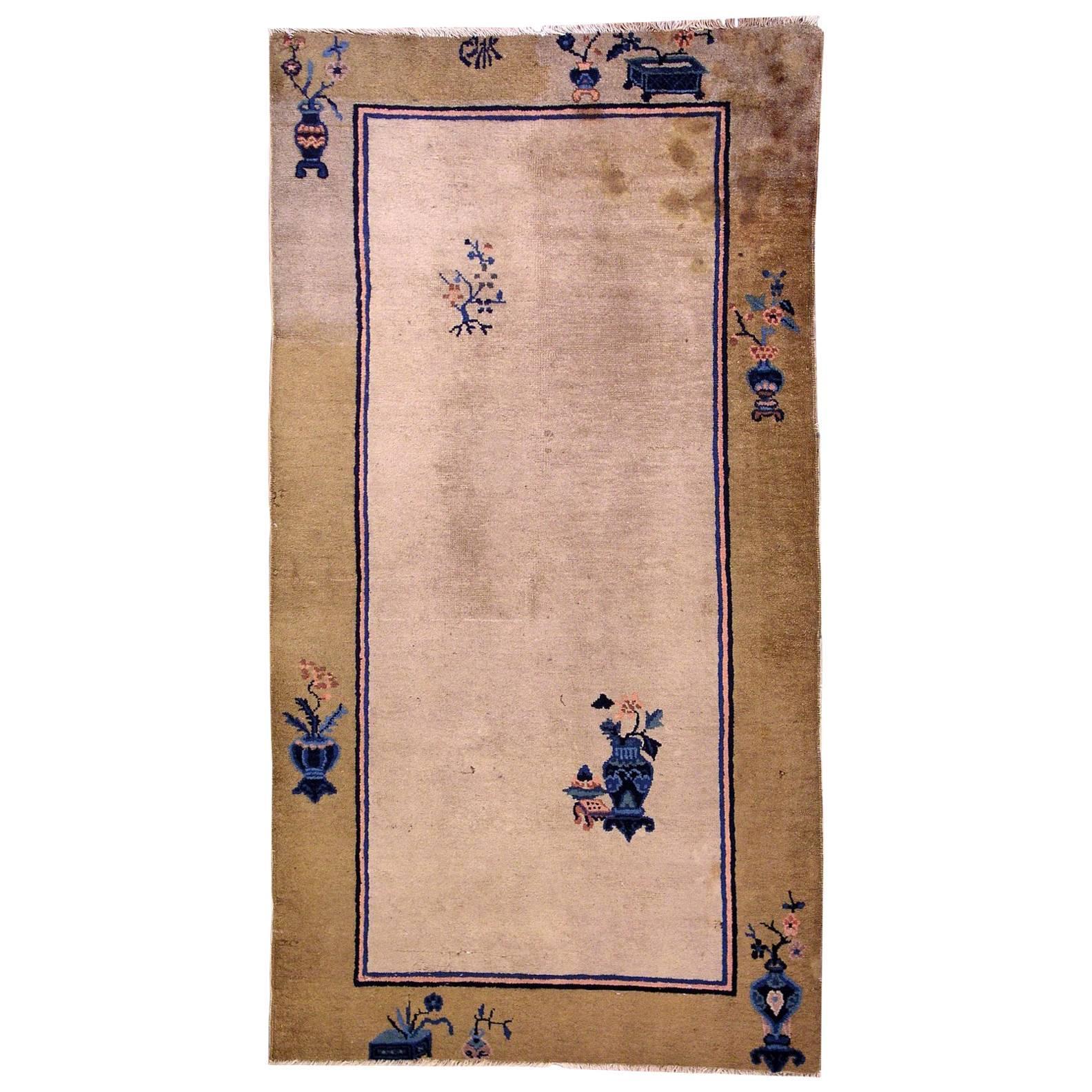 Handmade Antique Chinese Peking Rug, 1900s, 1L14