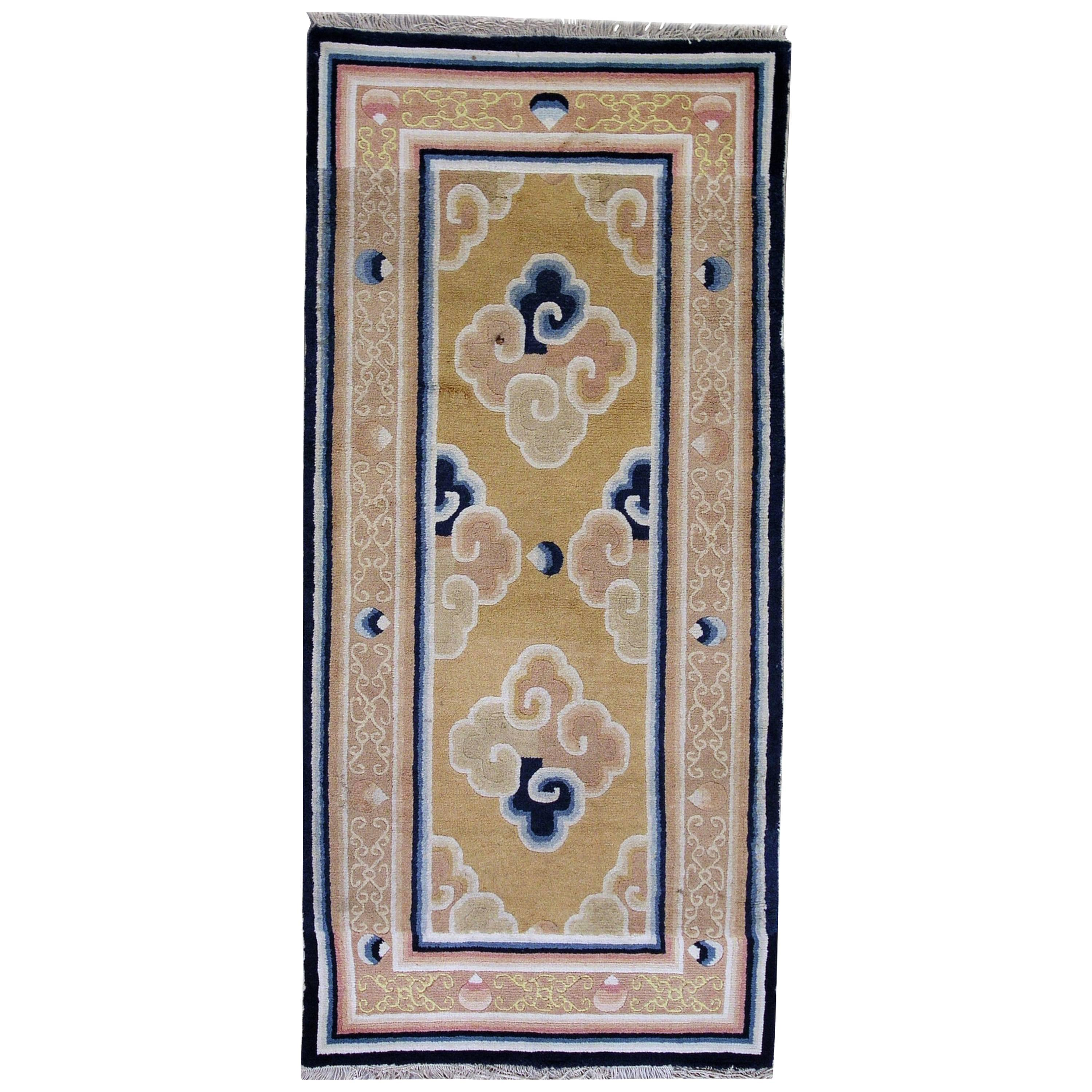 Handmade Antique Collectible Chinese Ningsha Rug, 1790s, 1L15