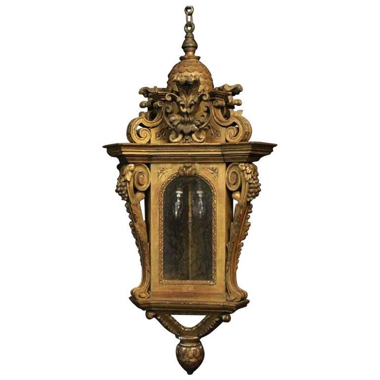 Italian Giltwood 19th Century Triple Light Antique Lantern