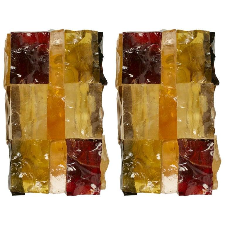 1970s Pair of Jean Simon Labret Colored Glass Patchwork Sconces