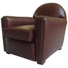 Art Deco Club Chair Completely Restored and Recovered with Brown Leather