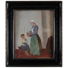 Antique Czech Genre Painting, Mother & Child, Signed Multrus, circa 1920