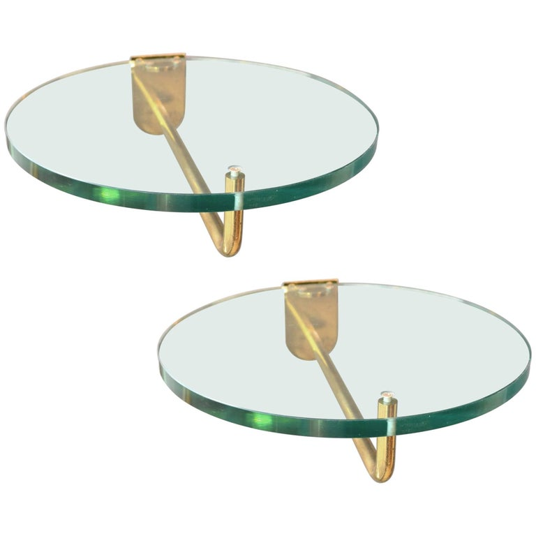1970s Pair of Wall-Mounted Round Glass and Brass Shelves or Side Tables