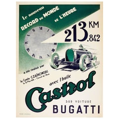 Original 1933 Bugatti World Record Motor Racing Poster Sponsored by Castrol Oil