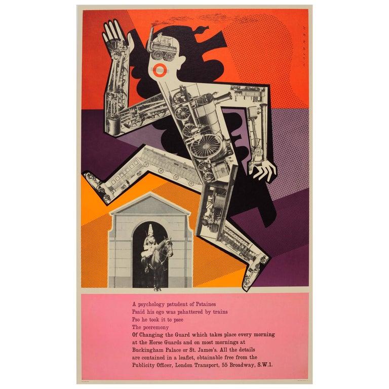 Original Vintage London Underground Poster - Psychology Pstudent at Horse Guards For Sale