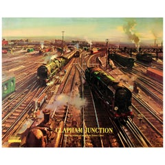 Original Vintage British Railway Poster Ft. Trains At Clapham Junction By Cuneo