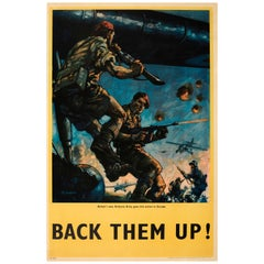 Original WWII Poster - Back Them Up - Britain's Airborne Army Parachute Regiment