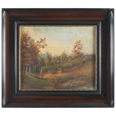 Continental School Oil on Board Landscape Scene with Figures and Pond, Signed