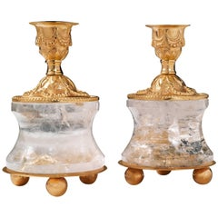 Rock Crystal Pair of Candlestick by Alexandre Vossion