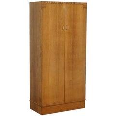 Lovely Edwardian Satin Oak Hand-Carved Wood Medium Sized Wardrobe Floral Carved