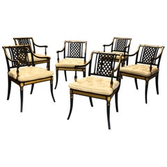 Highly Decorative Set of Six Regency Painted and Gilt Open Armchairs
