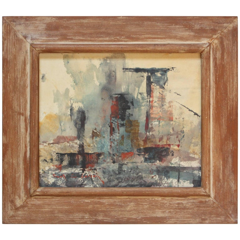Frank Edwin Larson Abstract Oil and Gouache on Canvas For Sale