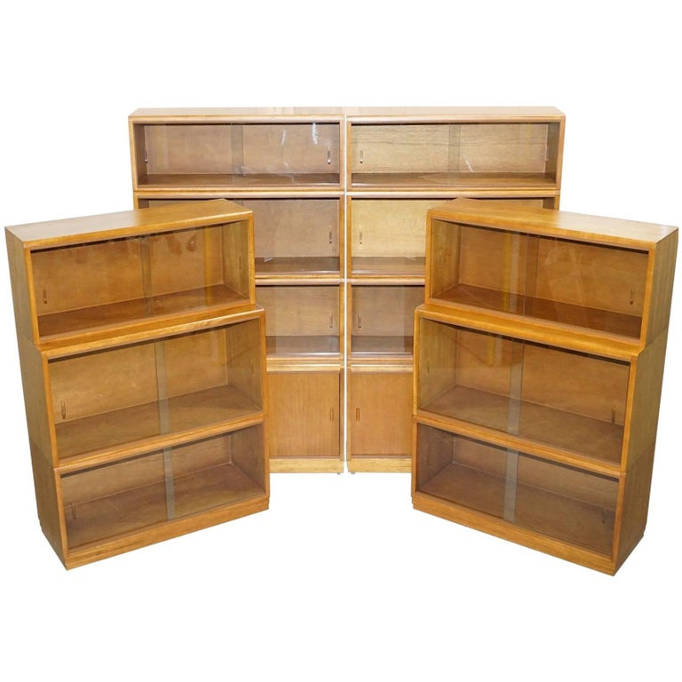 Complete Library Suite of 1960s Simplex Honey Oak Stacking Bookcases Glass Door