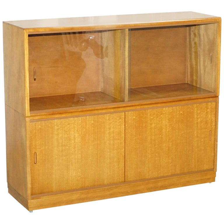 Large Sideboard Sized 1960s Simplex Honey Oak Stacking Bookcase Gl Doors For
